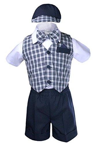 Unotux 5pc Boy Checks Gingham Eton Formal Navy Blue Short Vest Set Suit Hat S-4T (2T)