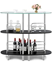 COSTWAY 3-Tier Bar Cabinets Table, Liquor Display Bar Storage with Tempered Glass Counter Top and Metal Frame, Bar Unit with 2 Shelves, Bar Organize Ideal for Home/Kitchen/Bar/Pub