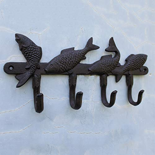 (CXQ European and American Style Country Retro Cast Iron Crafts Hook Wall Hook Small Fish Hook Home Decoration)