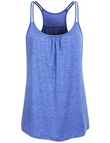 - Running Shirts Women, Misyula Feminine Dressy Tops Summer Climbing Scoop Neck Spaghetti Strap Burnout Racerback Pleats Sleeveless Cami Heathered Simple Adorable Versatile Crafted Active Wear Blue XL