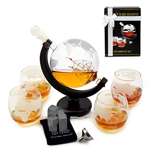 Whiskey Decanter Set - Globe Glasses - Housewarming Gifts -Scotch Gift Set - Globe Decanter for Whisky, Scotch and Liquor - 30oz Liquor Decanter Set - Whiskey Decanter - Glass Decanter with Gift Box