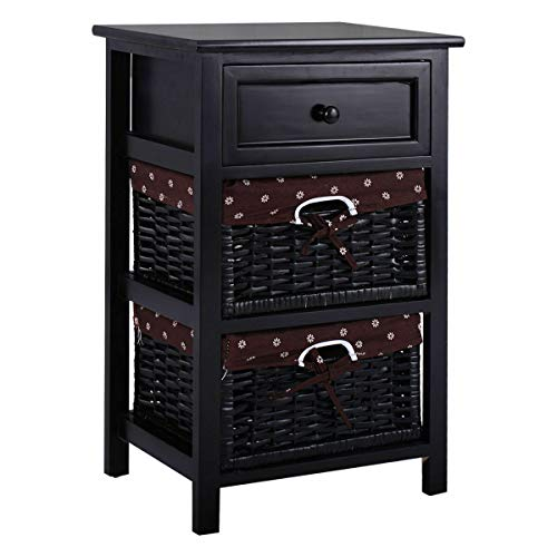(JedaJeda Black Night Stand 3 Tiers 1 Drawer Bedside End Table Organizer Wood W/2 Baskets)