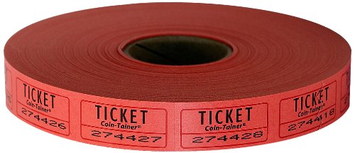 The Coin-Tainer Co. Single Raffle Ticket Roll, 2000 Count, Red (602603R)