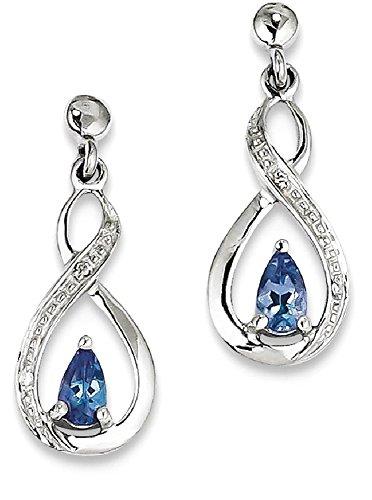 Carats Tanzanite Earrings (ICE CARATS 925 Sterling Silver Blue Tanzanite Diamond Post Stud Earrings Drop Dangle Fine Jewelry Gift Valentine Day Set For Women Heart)