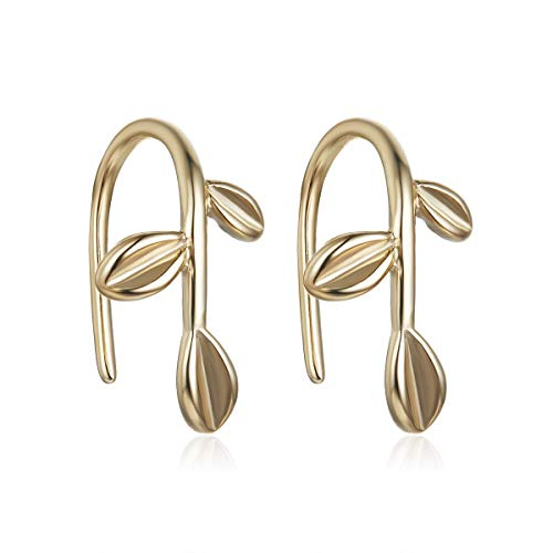 05ab38828 Set of 2 Sterling Silver Stud Earrings in Silver and 18K Gold Simple Ear  Cuff Clip