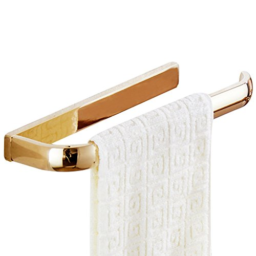 WINCASE 4 Pieces Polished Gold Bathroom Accessory Sets, Solid Brass Construction Wall Mounted Robe Hook Towel Bar Towel Ring Paper Holder by WINCASE (Image #3)