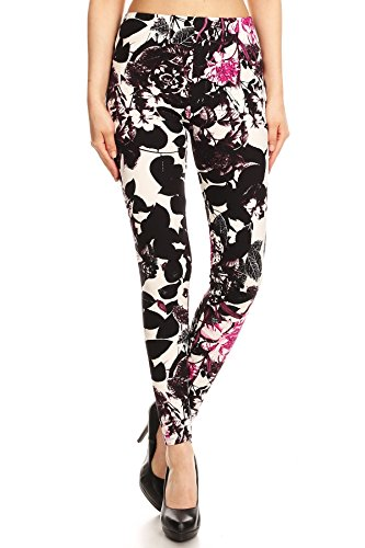 Expert Design Women's Regular B&W Flower Pink Accent Pattern Printed Leggings Accent Leggings