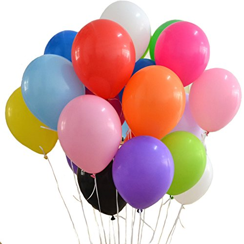 12 inch Premium Assorted Color Helium Latex Balloons Decorations for Christmas Birthday Carnival Festival Wedding Party New Years eve 100 Pcs