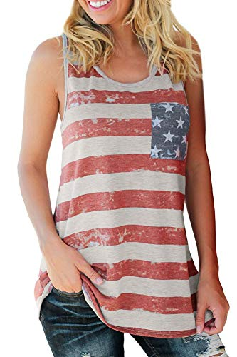 (Spadehill July 4th Women's Cotton USA Flag Tank Tops Swing Loose Summer Sleeveless Tunic with Pocket Red Striped XL)
