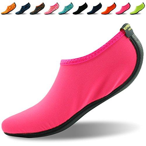 Forfoot Wasser Socken, Unisex Wasser Haut Schuhe Low Top Tauchen Schnorcheln Neopren Strand Socken Tauchen Schnorchel Socken Volleyball Fußball Schuhe für Wassersport Yoga Rose Rot
