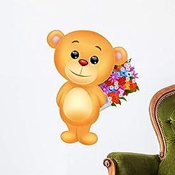 Wallmonkeys Cute Bear Holding Flower Wal...