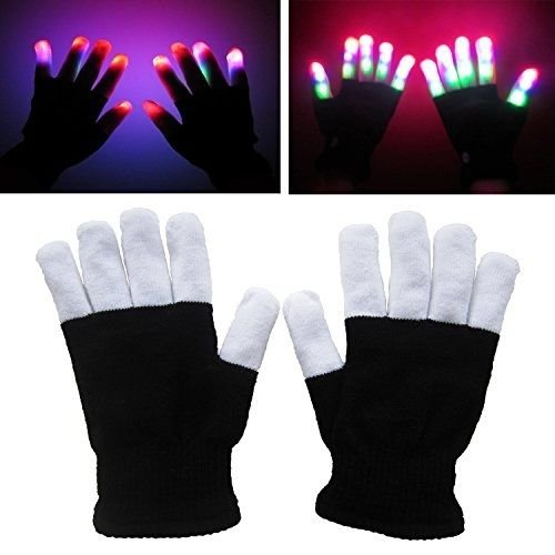 BonBon Gloves Party Light Show Gloves- 6 Light Flashing Modes. The Best Gloving & Lightshow Dancing Gloves for Clubbing, Rave, Birthday, EDM, Disco, and Dubstep Party (Black/White 6 Modes)