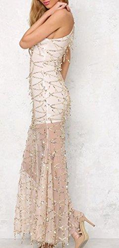Abendkleid Damen Ärmel Ausschnitt Schulterfrei Rückenfrei Figurbetont Tüll Pailletten Glitzer Elegant Lang Ballkleid Cocktailkleid
