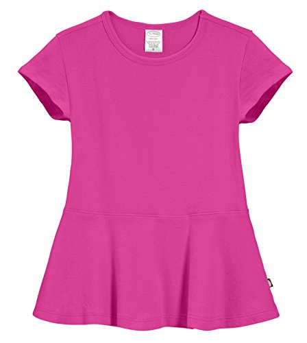 City Threads Little Girls' Cotton Short Sleeve Peplum Top Blouse Shirt For Summer Play School Parties Stylish SPD Sensory Friendly, Hot Pink, 6