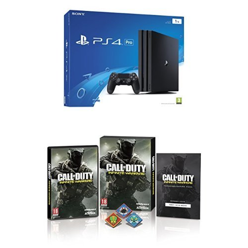 Sony PlayStation 4 Pro 1 TB + Call of Duty: Infinite Warfare w/ Zombie Pin Badges and Hellstorm DLC (Exclusive to Amazon.co.uk) (PS4)