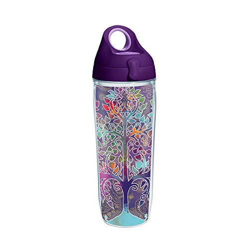 Tervis 1252295 Tree of Life Tumbler with Wrap and Purple Lid 24oz Water Bottle, Clear (Water Tervis Bottle)