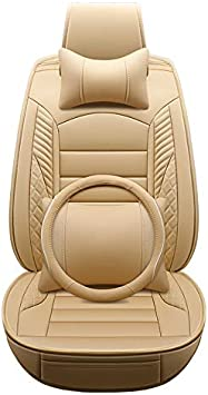 Four season seat cover wear-resistant PU leather car seat cushion cover 5 seats full set of universal fit. luxurious brown