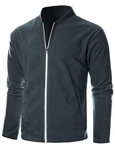 Windblock Jacket - GIVON Mens Slim Fit Long Sleeve Lightweight Polar Fleece Zip-up Cardigan with Kanga Pocket/DCF139-CHARCOAL-S