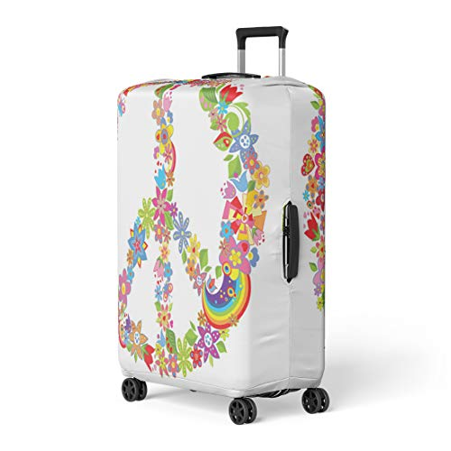 Pinbeam Luggage Cover Sign Peace Flower Symbol 70S Groovy Power Rainbow Travel Suitcase Cover Protector Baggage Case Fits 26-28 inches