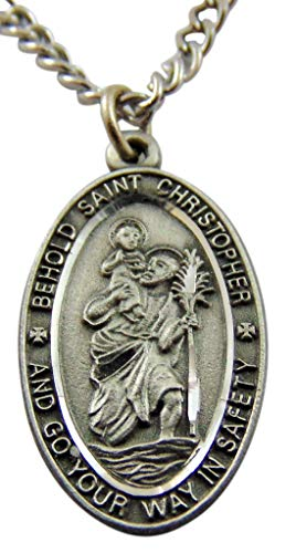 Westman Works St Christopher Pewter Medal on a Stainless Steel Chain with Holy Card Gift Boxed -