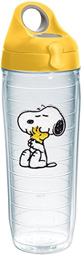 (Tervis 1232564 Peanuts - Felt Tumbler with Emblem and Yellow Lid 24oz Water Bottle, Clear)