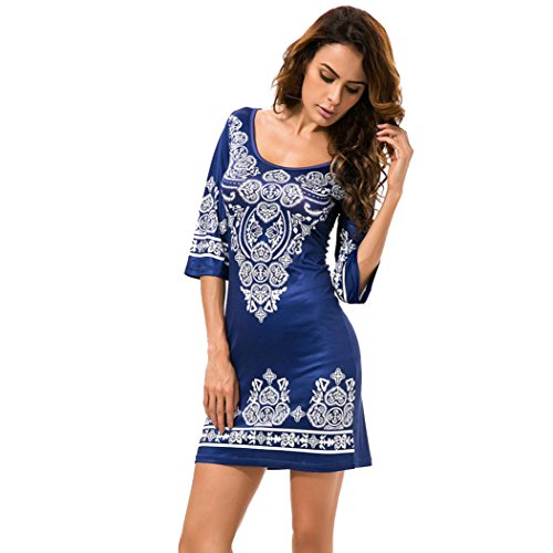 Women Dress, Misaky Summer Dress Print Patchwork Short Maxi Party Dresses (L, Blue)