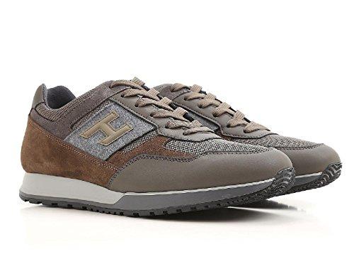 Hogan Sneakers Uomo in Pelle e Tessuto Marrone e Grigio - Codice Modello: HXM3210Y940HIP9AZE Marrone