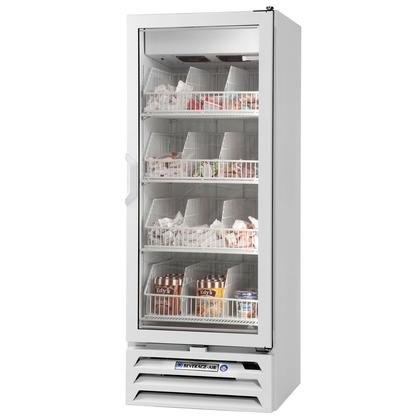 Beverage-Air MMF12-1-W-LED MarketMax 24'' One Section Glass Door Reach-In Merchandiser Freezer with LED Lighting 12 cu.ft. Capacity White Exterior and Bottom Mounted by Beverage Air (Image #1)