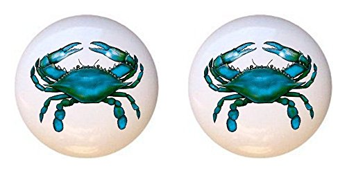 SET OF 2 KNOBS - Blue Crab #003 - Crabs Sea Ocean Fish - DECORATIVE Glossy CERAMIC Cupboard Cabinet PULLS Dresser Drawer (Crab Cabinet)