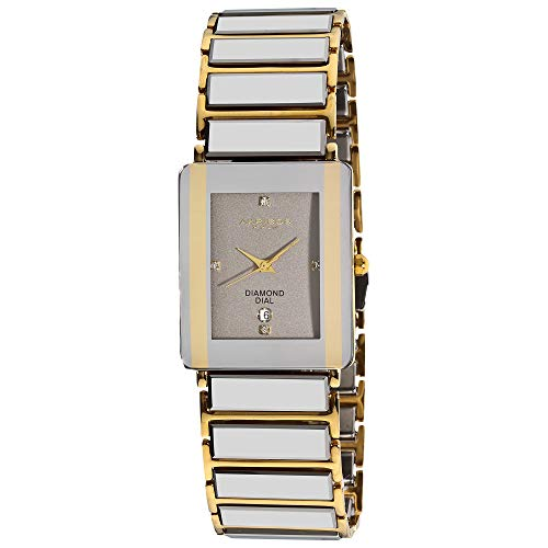 Akribos XXIV Men's AK521 Rectangular Ceramic Quartz Movement Watch Inner Link Bracelet (Yellow Gold)