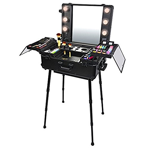 Muses Poem Studio To Go Makeup Case with Light Pro Makeup Station (Black) by Muses Poem
