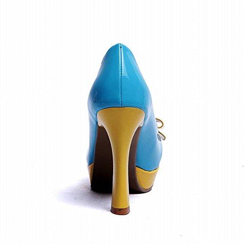 Carol Schoenen Chic Dames Assorti Kleuren Strikken Schattig Charmant Platform Hoge Hak Jurk Pumps Schoenen Blauw
