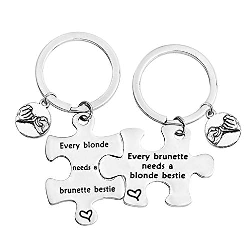 bobauna Every Blonde/Brunette Needs A Brunette/Blonde Bestie Pinky Promise Puzzle Keychain Set (Blonde Brunette Set) (Every Blonde Needs A Brunette Best Friend Gifts)