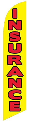 Insurance (red/yellow) Feather Banner Swooper Flag - NO WIND REQUIRED - Replacement FLAG ONLY