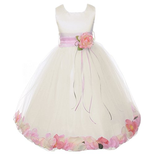 Big Girls Ivory Sleeveless Satin Bodice Floating Flower Petals Girl Dress with Matching Organza Sash and Double Tulle Skirt - Pink Set - Size 10
