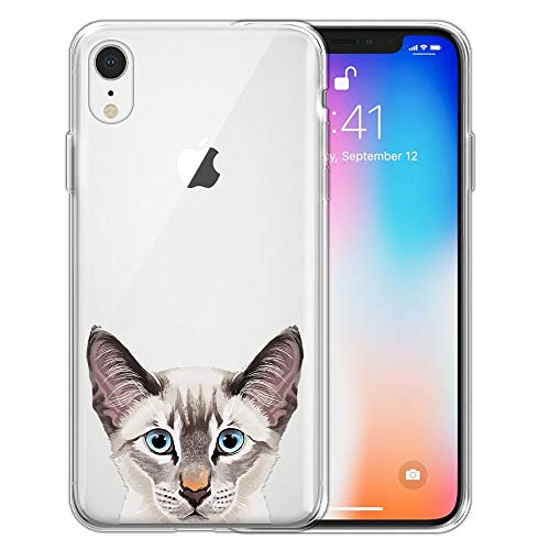 - FINCIBO Case Compatible with Apple iPhone XR 6.1 inch, Clear Transparent TPU Silicone Protector Case Cover Soft Gel Skin for iPhone XR - Lynx Point Lilac Siamese Cat