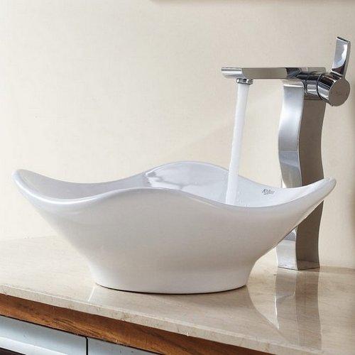 - Kraus C-KCV-135-14600CH White Tulip Ceramic Sink and Sonus Faucet, Chrome
