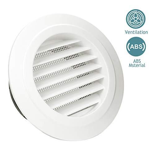 (HG POWER 6 Inch Round Air Vent ABS Louver Grille Cover White Soffit Vent with Built-in Fly Screen Mesh for Bathroom Office Kitchen Ventilation)