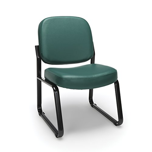 (OFM Armless Reception Chair - Anti-Microbial/Anti-Bacterial Vinyl Guest Chair, Teal (405-VAM))