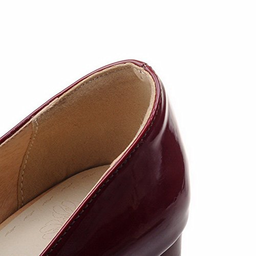 AmoonyFashion Womens Patent Leather Buckle Square Closed Toe Kitten-Heels Solid Pumps-Shoes Claret oy0axJLl
