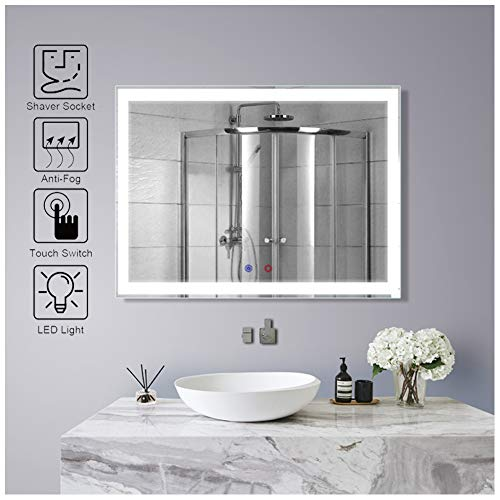 GJRYSL 600 x 800mm LED Illuminated Bathroom Mirror Wall Mounted Shaving Mirror - Led 800 X Mirrors 500 Bathroom