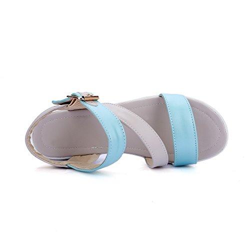 AllhqFashion Damen Offener Zehe Mittler Absatz Gemischte Farbe PU Leder Plateau-Sandalen Grau