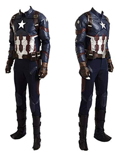Superhero Captain Soldier Costume Deluxe Halloween Cosplay Full Set PU Suit L Blue]()