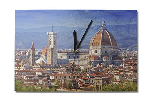 Lantern Press Florence, Italy - Cathedral Maria del Fiore - Photography A-91570 (10x15 Wood Wall Clock, Decor Ready to Hang)