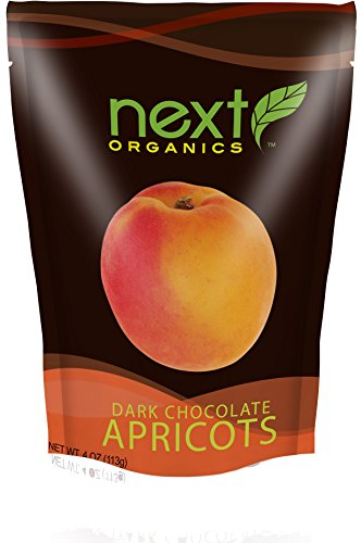 Next Organics Dark Chocolate Apricots, 4 Ounce (Pack of 6)