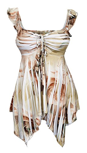 eVogues Plus Size Deep V-Neck Asymmetric Slimming Sublimation Print Top Olive 2-5X