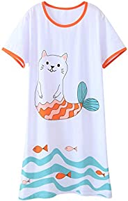 AOSKERA Girls' Unicorn Nightgowns Mermaid Sleepwear Kitten Nightdress Cotton 3-12 Y