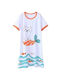 AOSKERA Girls' Unicorn Nightgowns Mermaid Sleepwear Kitten Nightdress Cotton 3-12 Years