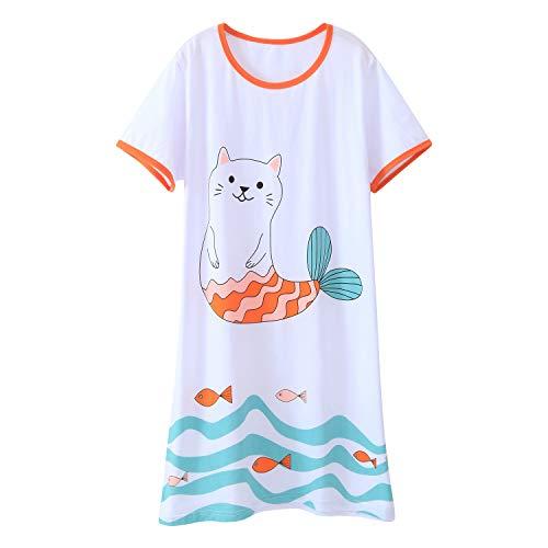 AOSKERA Girls' Cartoon Nightgown Kitty Night Shirt Cotton Sleepwear White 9-10 Years -