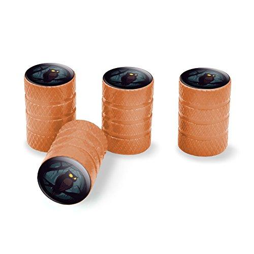 Graphics and More Horned Owl Night Eyes Tire Rim Wheel Aluminum Valve Stem Caps - Orange